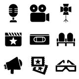 Cinema web and mobile logo icons collection. On white back. Vector symbols of camera, videotape, tickets etc Stock Photos