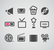 Cinema web silhouettes collection Royalty Free Stock Photos