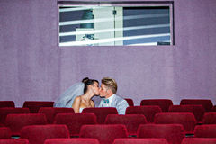 In cinema on a wedding day Royalty Free Stock Image