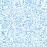 Cinema White Line Seamless Pattern. Vector Illustration of Outline Tileable Background Stock Photo