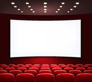 Cinema with white screen and seats. Vector royalty free illustration