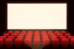 Cinema with white screen Stock Image