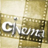 Cinema word written with random characters. In the background we have vintage film strip in sepia tones. Cinema word written with random characters. In the Royalty Free Stock Photos