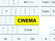 Cinema yellow keyboard button. Cinema isolated on yellow keyboard button abstract illustration Stock Photography