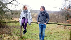 Cinemagraph des couples sur la campagne par une barrière en bois banque de vidéos