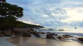 Cinemagraph of dramatic coastline at Anse Lazio, Seychelles. Islands stock footage