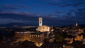 Cinemagraph.4k.night view from lookout point Belvedere at twilight.Perugia,Italy stock video footage