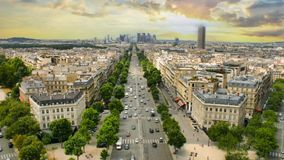 Cinemagraph.4k.View of la Defence district from Arc de Triomphe in Paris, France stock footage