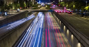 Cinemagraph of night scene of urban traffic.Time Lapse - Trail effect - Long exposure - 4K. (02). Cinemagraph of night scene urban, surface traffic in motion and stock video