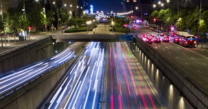 Cinemagraph of night scene of urban traffic.Time Lapse - Trail effect - Long exposure - 4K. (03). Cinemagraph of night scene urban, surface traffic in motion and stock video