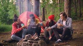 Cinemagraph pętla - wieloetniczna grupa przyjaciel dziewczyny i faceci siedzimy w lesie wokoło ogienia z napojami clinking zbiory