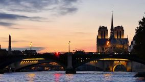 Cinemagraph in Paris. Morning. Cinemagraph of Paris. Water is moving. Filmed in Paris in the evening. The city lights are turning on and off. Cinemagraphs are stock video
