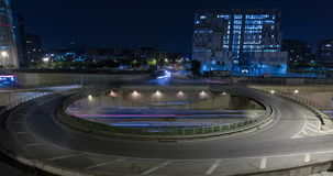 Cinemagraph of roundabout above highway.Time Lapse. Cinemagraph of roundabout above highway. Night scene urban traffic, of Barcelona, surface traffic in motion stock video footage