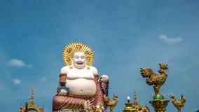 Cinemagraph Timelapse Chiński Roześmiany Buddha przy Plai Laem świątynią Główny symbol i Popularny Samui wyspa punkt zwrotny - zbiory wideo