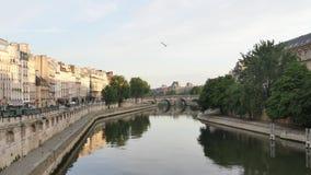 Cinemagraph van de Zegen, dichtbij Pont neuf, in Parijs, de ochtend stock footage