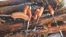 Cinemagraph van vleespennen van vlees met groenten op een spit in een pan worden gekookt die stock footage