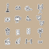 Cinemas and movies drawing icons paper cut. Cinemas and Movies cartoon drawing icons Stock Photo