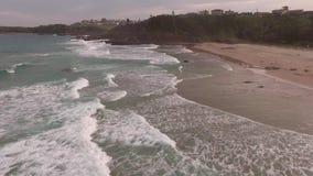 Cinematic aerial footage of the Cathedral Rocks, Kiama. Australia stock footage