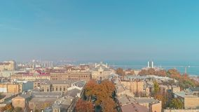 Cinematic aerial view on Odessa city downtown with opera house theater stock video