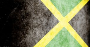 Cinematic Animated Camera sliding across grunge Jamaica flag. July 27 2018 vector illustration