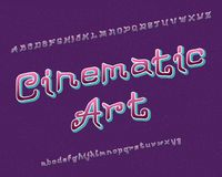 Cinematic Art typeface. Artistic font. Isolated english alphabet.  vector illustration