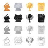 Cinematic cracker, Golden Globe Award, Silver certificate, golden box of popcorn. Different Kinds of Movie Awards set. Collection icons in cartoon black Royalty Free Stock Images