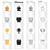 Cinematic cracker, Golden Globe Award, Silver certificate, golden box of popcorn. Different Kinds of Movie Awards set. Collection icons in cartoon black Royalty Free Stock Photo