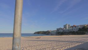 Cinematic dolly shot at a quiet beautiful day at bondi beach stock video footage