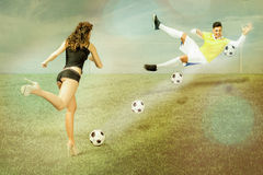 Cinematic football kicks Stock Photo
