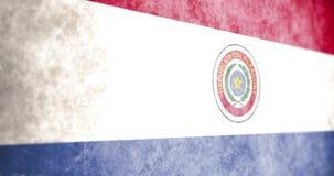 Cinematic Geanimeerde Camera die over de vlag van grungeparaguay glijden royalty-vrije illustratie