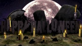 Cinematic Happy Halloween in the cemetery. Happy Halloween! The inscription is in the cemetery among the gravestones. Left and right flying candles in the stock video