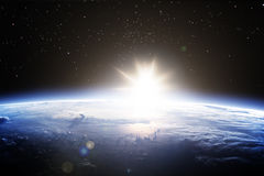 Cinematic horizon of Earth from space Royalty Free Stock Image