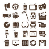 Cinematic Icon Set. Set of monochrome cinematic icons vector illustration
