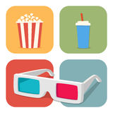 The cinematic illustration. Movie showing with Popcorn, drinks and 3D Stereo Glasses Stock Image