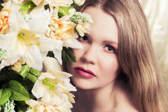 Cinematic Portrait of a woman with flowers Stock Photos