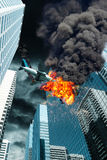 Cinematic Portrayal of Airplane Crashing Onto City Building Stock Image