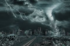 Cinematic Portrayal of City Destroyed by Tornado or Hurricane. 3D illustration of tornado or hurricane`s detailed destruction along its path toward fictitious Royalty Free Stock Photos
