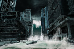 Cinematic Portrayal of a City Destroyed by Tsunami stock images