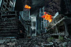 Cinematic Portrayal of Destroyed City Royalty Free Stock Photography