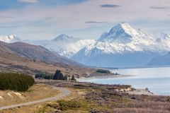 Cinematic Road to Mount Cook , New Zealand. Stock Photography
