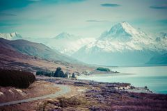 Cinematic Road to Mount Cook , New Zealand. Stock Images