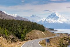 Cinematic Road to Mount Cook , New Zealand. Stock Photos
