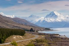 Cinematic Road to Mount Cook , New Zealand. Royalty Free Stock Photo