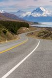 Cinematic Road to Mount Cook , New Zealand. Royalty Free Stock Image
