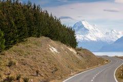 Cinematic Road to Mount Cook , New Zealand. Cinematic Road to Mount Cook , New Zealand Stock Images