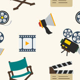 Cinematic Seamless Pattern. Editable cinematic icons seamless pattern, can be used as background Stock Photos