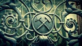 Cinematic shot of iron masonic symbols stock video