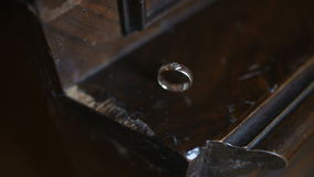 Cinematic shot of wedding rings. Wedding Rings. cinematic shot of wedding rings during ceremnony stock video