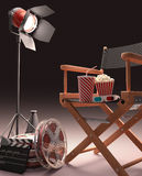 Cinematic Studio. Studio recording, pause for snack and see the movie royalty free illustration