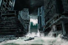 Cinematicafbeelding van een Stad door Tsunami wordt vernietigd die stock afbeeldingen